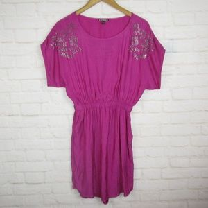 Express Silky Purple Rhinestone Dress